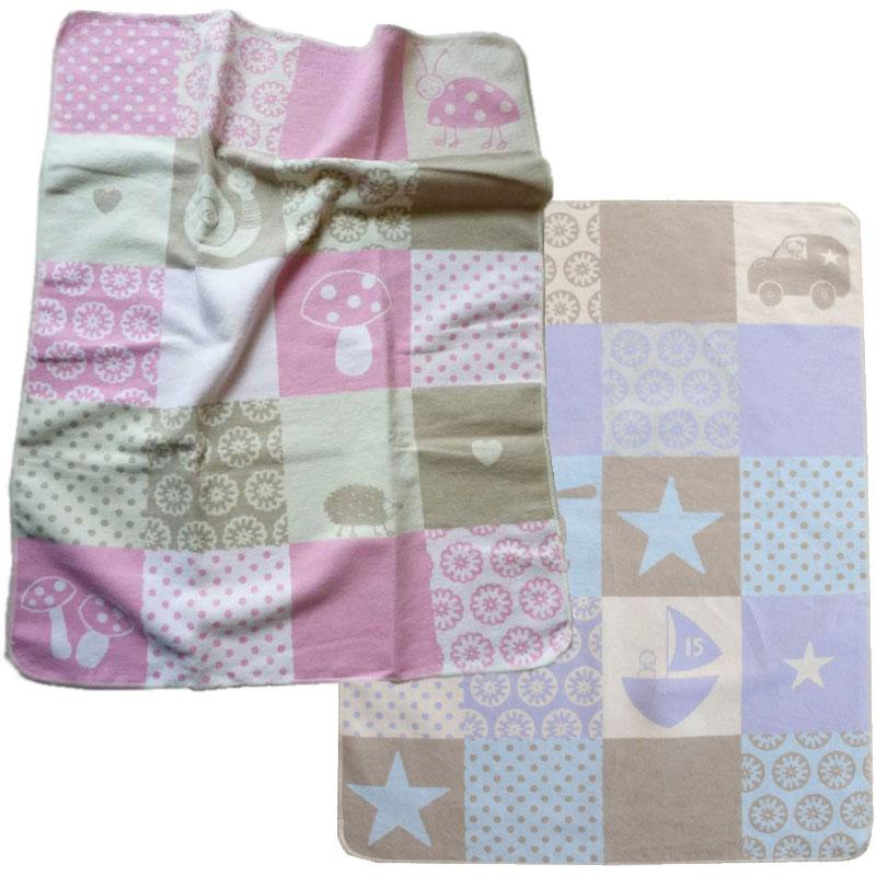 babydecke fussenegger baby decke 70 x 90 cm farben rosa oder blau patchwork. Black Bedroom Furniture Sets. Home Design Ideas