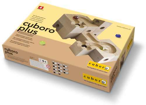 das beschleunigerset für murmelbahn aus holz, cuboro plus zusatzkasten,