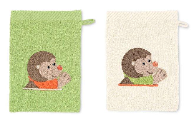 Kinderwaschlappen aus Frottee in beige oder grün
