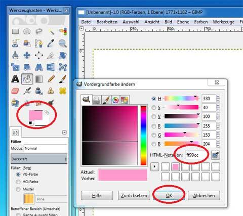 Hintergrundfarbe wählen