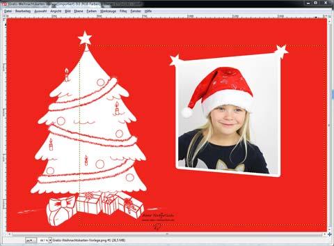 Weihnachtskarte Bild hinzufuegen